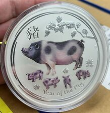 2019 Australia $10 Lunar Year of the Pig Colorized 10 oz .9999 Silver Coin - BU