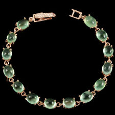 NATURAL AAA GREEN PREHNITE OVAL CABOCHON STERLING 925 SILVER BRACELET 7
