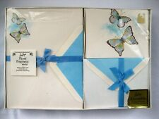 VTG New Whiting's Stationery Set Butterflies Blue Letter Writing Penpal READ