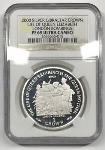2000 SILVER GIBRALTAR CROWN LIFE OF QUEEN ELIZABETH LONDON BOMBINGS NGC PF69 UC