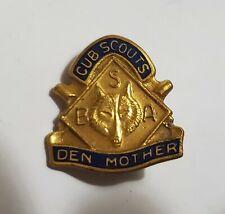 Vintage BSA Boy Scouts Cub Scout Den Mother Goldtone Pin