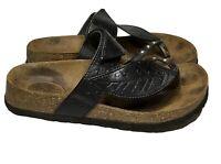 Betula by Birkenstock Womens Bombay Black Leather Leaf Sandals SZ 39 US 8-8.5