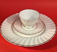 ROYAL DOULTON ADRIAN CUP AND SAUCER DINNER PLATE 3 PIECE H4816 GOLD AND WHITE