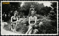 pretty women smiling in swimsuit,  Vintage Photograph, 1930'