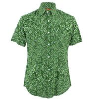 Men's Loud Shirt TAILORED FIT Hearts Green White Retro Psychedelic Fancy