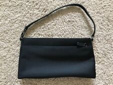 Coach Purse Clutch Style Black Nylon With Leather Handle