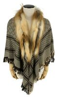 Authentic GUCCI GG Red Fox Fur Wool Silk Stall Shawl Scarf Brown Rank AB