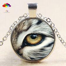Vintage Cabochon Tibetan Silver Glass cat eye Chain Pendant Necklace zdq79