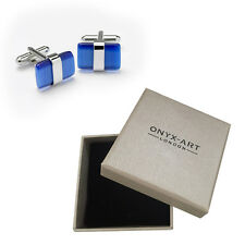 Mens Silver & Blue Cats Eye Cufflinks & Gift Box By Onyx Art Smart Fashion