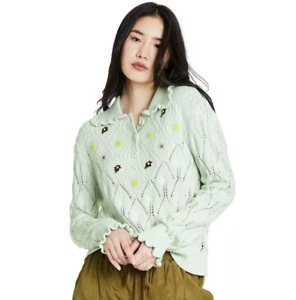 Target X Sandy Liang Mint Green Floral Embroidered Collared Pullover Sweater S