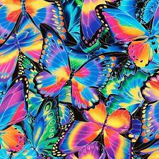 Fabric Butterflies Neon Rainbow Kaufman Digital Cotton 1/4 yard 8205