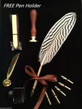 Antique Pheasant Feather Quill Dip Pen Ink Set Collection Stationery Gift Box