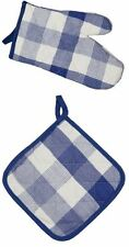 Wholesale Joblot 50 x Oven Glove with Matching Blue Check Pot Holder