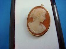 14K YELLOW GOLD ANTIQUE CAMEO BROOCH-PENDANT 3.6 GRAMS