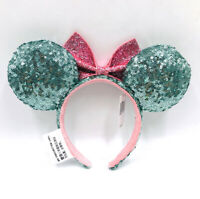Green Pink Minnie Ears Disney Parks Mickey Mouse Bow Sequins Glitter Headband