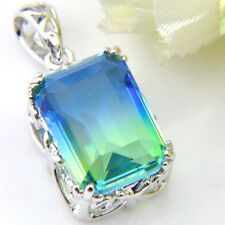 Ocean Blue Bi-Color Tourmaline Gemstone Solid Silver Pendant Necklace + Chain