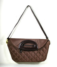 Maggie B Brown Quilted Shoulder Clutch Handbag Pink Brown CLEARANCE