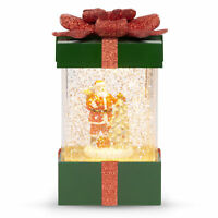 BCP Musical Pre-Lit Christmas Present Glitter Snow Globe Decor w/ Santa Claus