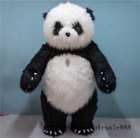 Chinese panda Bear Plush Mascot Costume Inflatable Long Fur Party Fancy Adults A