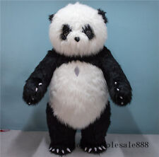 Chinese Panda Mascot Costume Inflatable Bear Long Fur Animal Party Fancy Adults