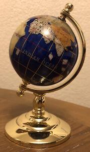 "Desktop GLOBE Blue Lapis With Semi Precious Inlaid Gemstones Gold Stand Earth 6"""