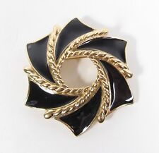 Vintage Designer Trifari Gold Tone Black Enamel Pinwheel Pin Brooch Vtg 1980s