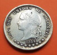 50 CENTAVOS 1874 RARE KM#177.1 BOGOTA silver coin Estados Unidos de COLOMBIA