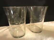 Vintage Pair Of Juice Glasses Embossed Flowers