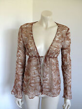 Brown White Long Sleeve Silk BoHo Festival Gypsy Jacket Size 8 - 10