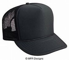 BLANK Solid Black Mesh Snap Back Cap Trucker Mesh Hat