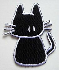 CUTE PRETTY BLACK BABY CAT Embroidered Iron on Patch + Free Shipping