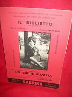 GESY SEBENA Il biglietto (Zauli) + E. CARDOSO Un cuore all'asta 1965 Spartiti