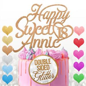 PERSONALISED Sweet Birthday Cake Topper Custom Any Name Age 12 16 18 21 30 45 50