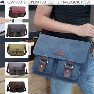Mens Canvas Bag Messenger Shoulder School Bags Vintage Military Travel Satchel