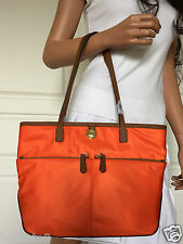 NWOT Michael Kors Beautiful  Medium Orange Pocket Nylon Leather Tote Bag Purse