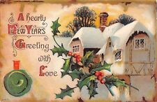 Holly by Mansion or Huge Home With Snow-Topped Roofs-Old New Year Postcard-340