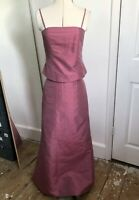 Marks And Spencer Two Piece Dress 100% Silk Pink Wedding Bridesmaid Size 10