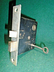 """ONE CORBIN 770 MORTISE LOCK with KEY, 5 1/2"""" NICKEL FACE, FULLY RESTORED(9897-4)"""