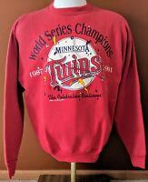 Vintage Minnesota Twins MLB 1987 1991 World Champions Red Crew Sweatshirt Large