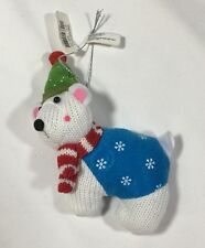 NWT Polar Bear Fleece Knit Stuffed Christmas Tree Ornament
