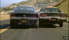 BULLITT Car Chase, 1968 Dodge CHARGER & FORD MUSTANG,Refrigerator Magnet, 40 MIL