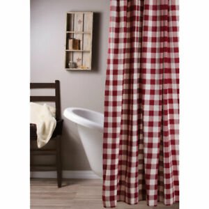 """Buffalo Check Barn Red and Buttermilk 72"""" x 72"""" Shower Curtain by Raghu"""