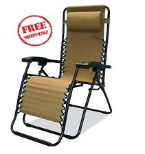 Caravan Sports Infinity Zero Gravity Beige Chair Folding Durable Camping Outdoor
