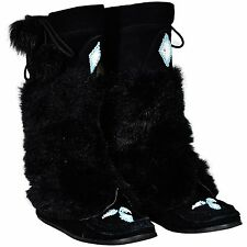 Women's 8 Steve Madden Mukluks Boots Knee High Native American Boots Faux Fur