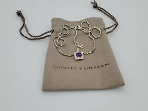David Yurman Petite Albion Pendant Necklace with Amethyst and Diamonds