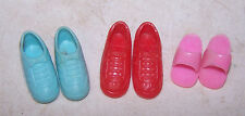 3 Pair Vintage Doll Shoes - About Barbie Size - Red Pink - Teal / Aqua