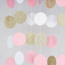 Glitter Circle Polka Dots Banner Bunting Wedding Vintage Party Christening Decor