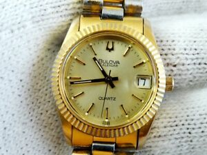 BULOVA Calendar 1A44B Vintage Gold Plated Lades Quartz ETA 955.414 Date Watch 80