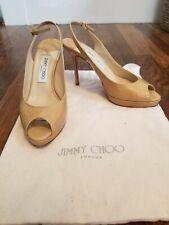 Jimmy Choo Patent Leather Peep Toe Pumps Tan Size 37.5