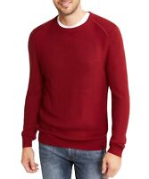 INC Mens Sweater Red Size 2XL Pullover Textured Waffle Knit Crewneck $59 087
